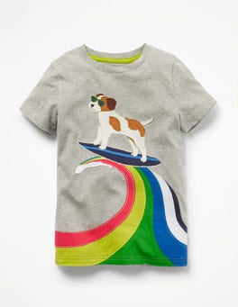 Grey Marl Surfing Sprout Action Appliqué T-shirt