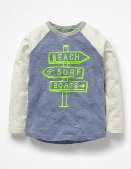 Hook Blue Surf Signs Long-Sleeved Raglan T-shirt