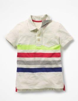 Ivory Rainbow Slub Jersey Polo Shirt