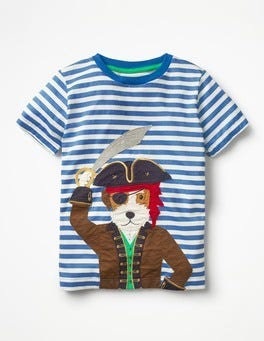 Skipper Blue/Ecru Dog Pet Pirate Appliqué T-shirt