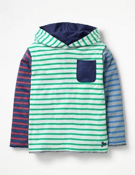 Ecru/Astro Green Hotchpotch Reversible Hooded T-shirt