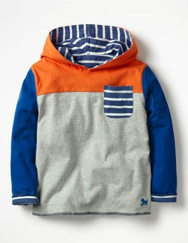 Grey Marl/Tangerine Orange Reversible Hooded T-shirt