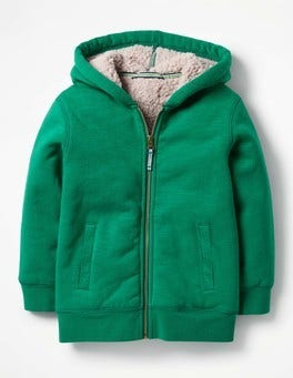 Watercress Green Borg-lined Zip-up Hoodie