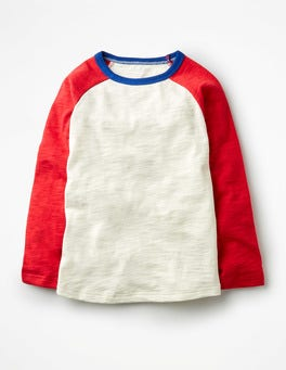 Ecru/Engine Red Raglan T-shirt