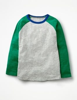 Grey Marl/Watercress Green Raglan T-shirt
