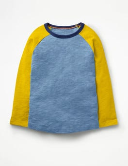 Sea Cadet Blue/Wasp Yellow Raglan T-shirt
