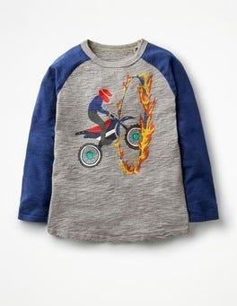 Charcoal Marl Stuntman Daredevil Raglan T-shirt