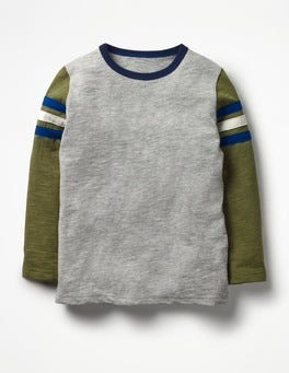 Grey Marl Sporty Colourblock T-shirt