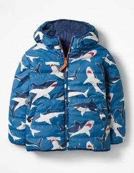 Schooner Blue Sharks Reversible Fun Puffer Jacket