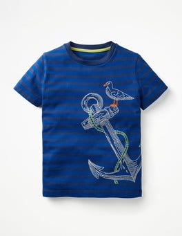 Beacon Blue/Orion Blue Anchor Stripy Embroidered T-shirt