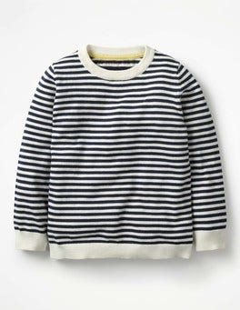 School Navy/Ivory Crew Jumper
