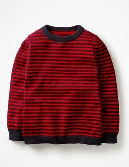 School Navy/Salsa Red Crew Jumper