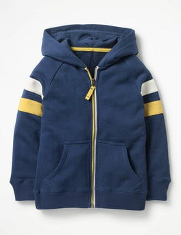 Beacon Blue Sports Stripe Zip-up Hoodie