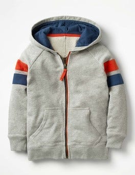 Grey Marl Sports Stripe Zip-up Hoodie
