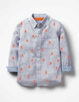 Beacon Blue/Ecru Skulls Embroidered Oxford Shirt