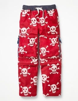 Engine Red Skulls Zip-off Techno Pants