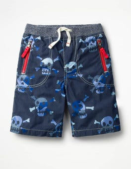 School Navy Camo Skulls Adventure Shorts