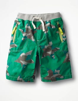 Watercress Green Camo Stars Adventure Shorts