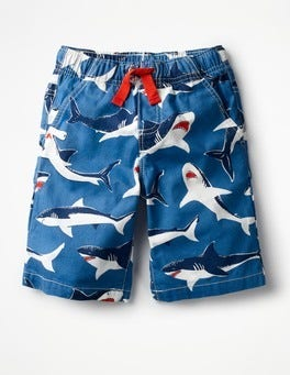 Orion Blue Ticking Sharks Printed Board Shorts