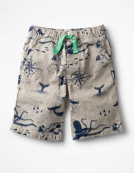Grey Ticking Treasure Map Printed Board Shorts