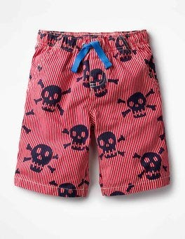 Engine Red Ticking Skulls Printed Board Shorts