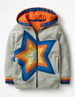 Grey Marl Starry Zip-up Hoodie