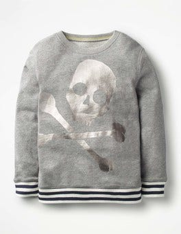 Grey Marl Skull Fun Sweatshirt