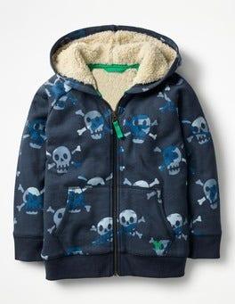 School Navy Camo Skulls Raglan Shaggy Hoodie