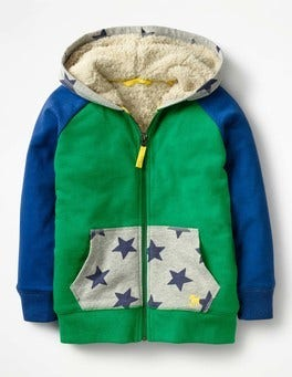 Watercress Green Stars Raglan Shaggy Hoodie