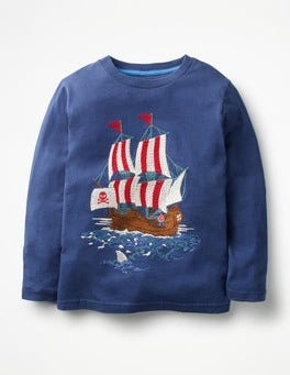Beacon Blue Pirate Ship Pirate Superstitch T-shirt