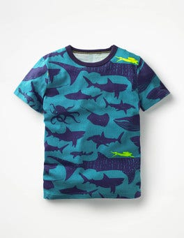 Loch Blue Shark Dive Printed T-shirt