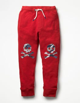 Engine Red Skulls Appliqué Joggers