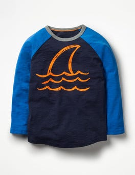 Navy Shark Graphic Raglan T-shirt