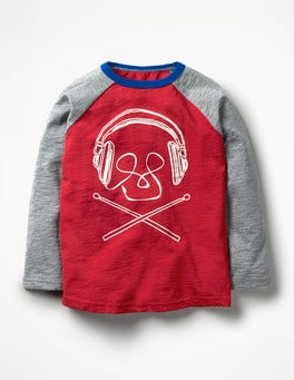 Engine Red Music Graphic Raglan T-shirt