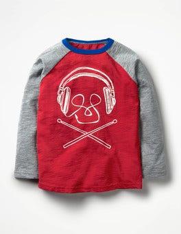 Engine Red Music Graphic Raglan T-shirt