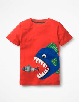 Ziggy Red Piranha Big Appliqué T-shirt
