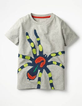 Grey Marl Spider Big Appliqué T-shirt