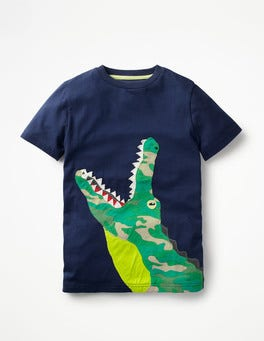 School Navy Crocodile Big Appliqué T-shirt
