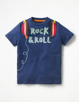 Beacon Blue Headphones Rock Star Appliqué T-shirt