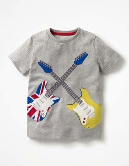Grey Marl Guitars Rock Star Appliqué T-shirt