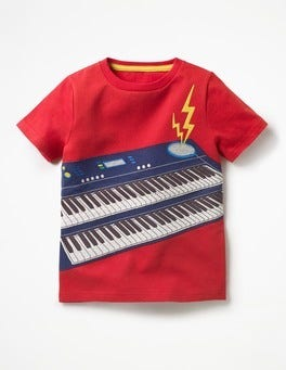 Salsa Red Keyboard Rock Star Appliqué T-shirt