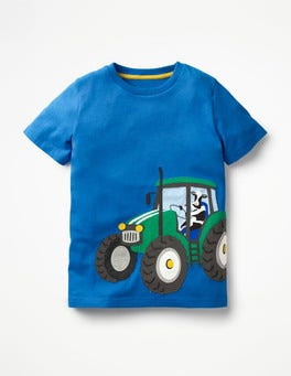 Skipper Blue Tractor Vehicle Appliqué T-shirt