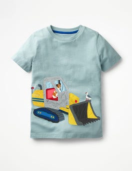 Shore Blue Bulldozer Vehicle Appliqué T-shirt