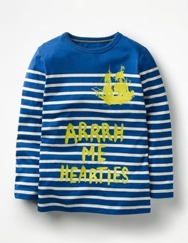 Orion Blue/Ecru Hearties Fun Breton T-shirt