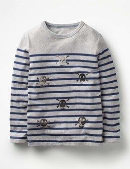 Grey Marl/Silver Skulls Fun Breton T-shirt