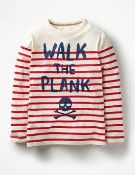 Ecru/Engine Red Walk the Plank Fun Breton T-shirt