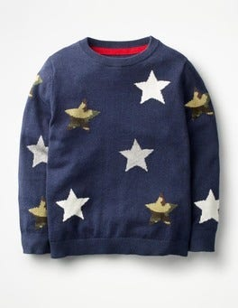 Navy Marl Star Space Crew Sweater