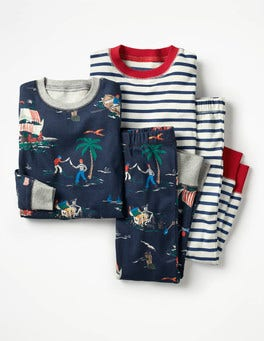 School Navy Pirates Twin Pack Long John Pyjamas