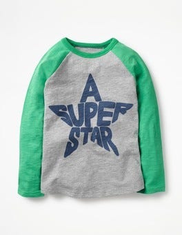 Grey Marl/Astro Green Star Space Wordle Raglan T-shirt