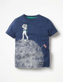 Beacon Blue Astronaut Golf Space Graphic T-shirt